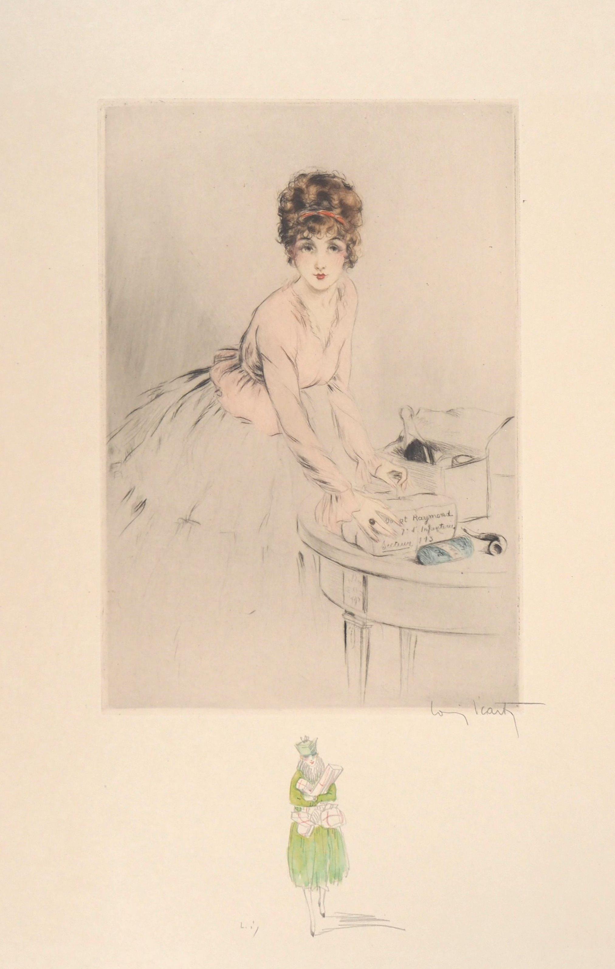 Dressmaker - Original Handsigned Etching and Watercolor drawing