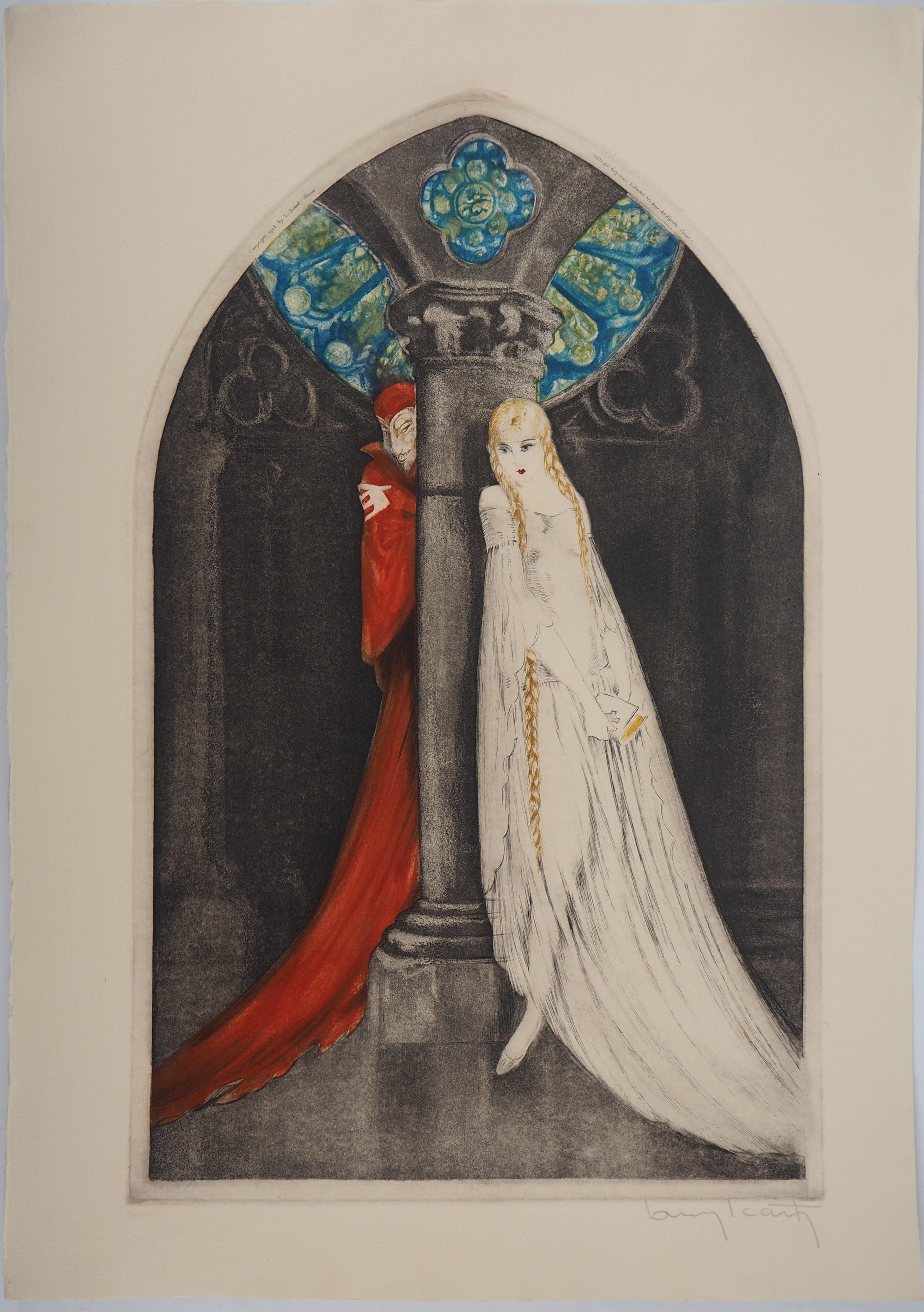 Faust : Margueritte and Devil - Original etching, Handsigned