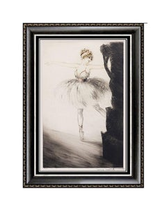 Louis Icart Original ETCHING Signed Ballerina on Point Color Artwork Windmill