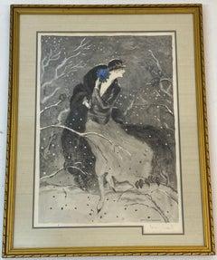 "Louis Icart ""Winter Bouquet"" Original Etching w/ Aquatint Signed"