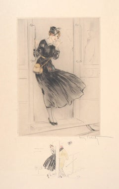 Train Attendant, c. 1917 - Original Handsigned Etching and Drawing