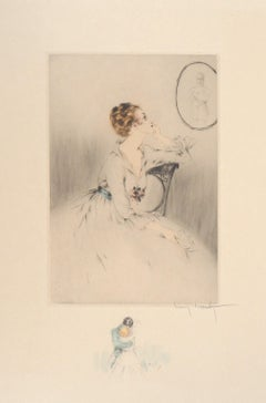 Wife Waiting for Her Husband - Original Handsigned Etching & Watercolor