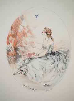 Woman and the Free Bird - Original etching