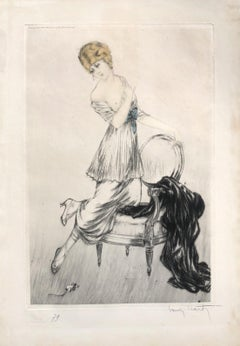 Woman Scared by a Mouse - 1913 - Original Etching Handsigned