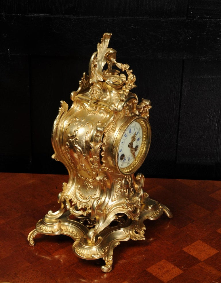 Louis Japy Antique French Gilt Bronze Rococo Clock, Dolphins For Sale 6