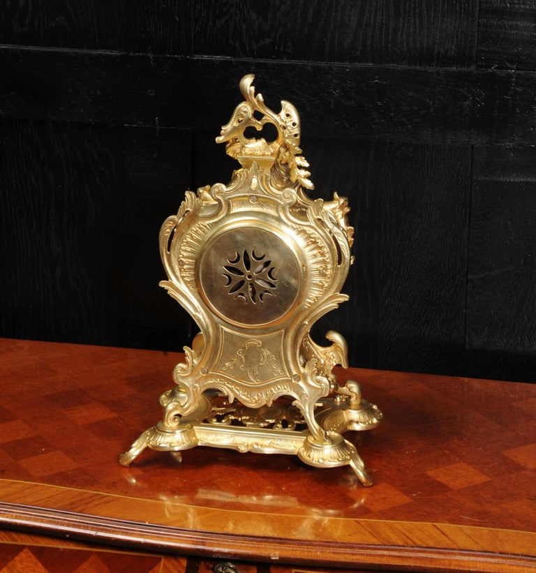 Louis Japy Antique French Gilt Bronze Rococo Clock, Dolphins For Sale 7