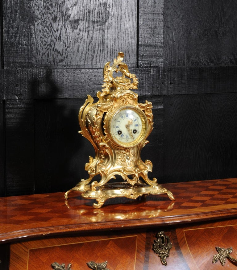 Louis Japy Antique French Gilt Bronze Rococo Clock, Dolphins In Good Condition For Sale In Belper, Derbyshire