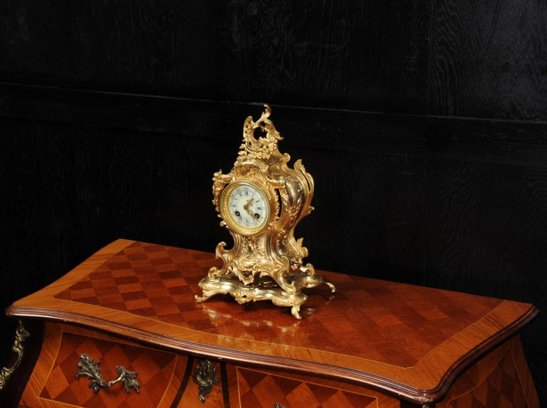 19th Century Louis Japy Antique French Gilt Bronze Rococo Clock, Dolphins For Sale