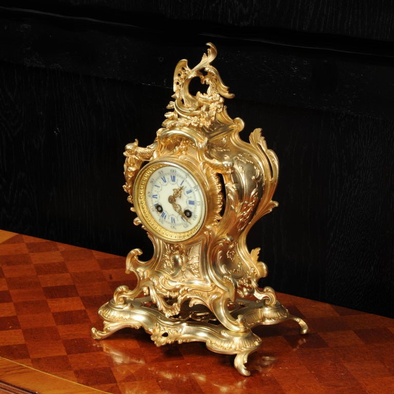 Louis Japy Antique French Gilt Bronze Rococo Clock, Dolphins For Sale 3