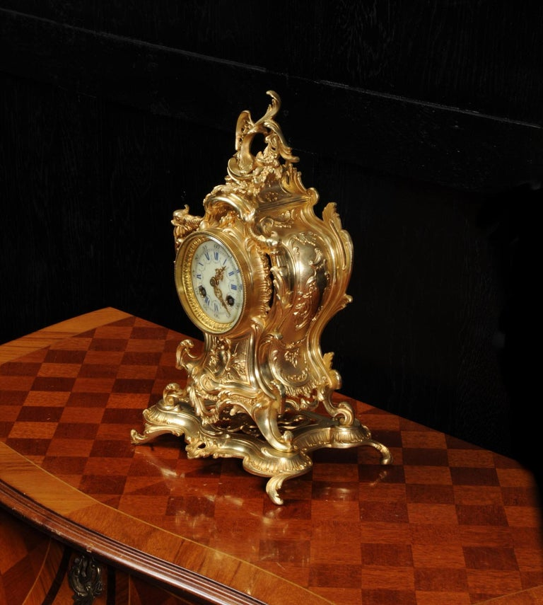 Louis Japy Antique French Gilt Bronze Rococo Clock, Dolphins For Sale 4
