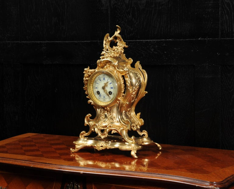 Louis Japy Antique French Gilt Bronze Rococo Clock, Dolphins For Sale 5