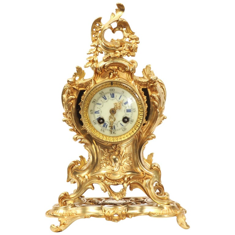 Louis Japy Antique French Gilt Bronze Rococo Clock, Dolphins For Sale