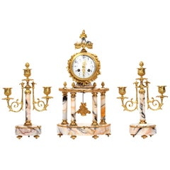 Louis Japy Ormolu and Marble Portico Antique French Clock Set