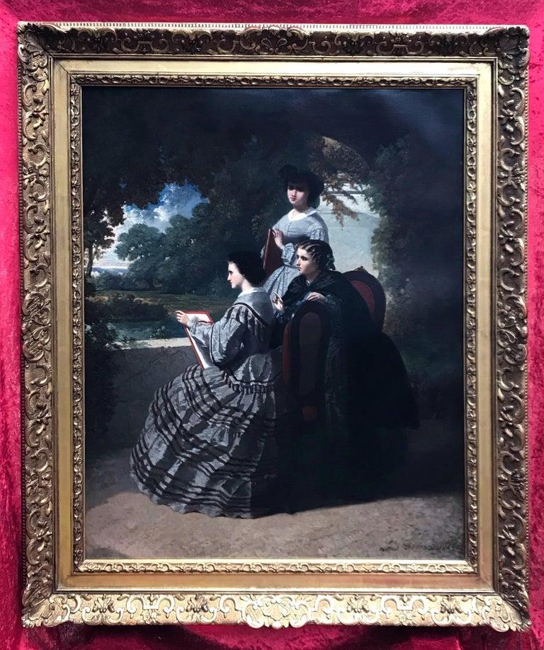Louis Joseph Taymans Portrait Painting - Drawing Lesson in the Park - Original Painting 1860