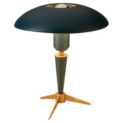 Louis Kalff for Philips 'Bijou' Table Lamp in Blue Metal and Brass