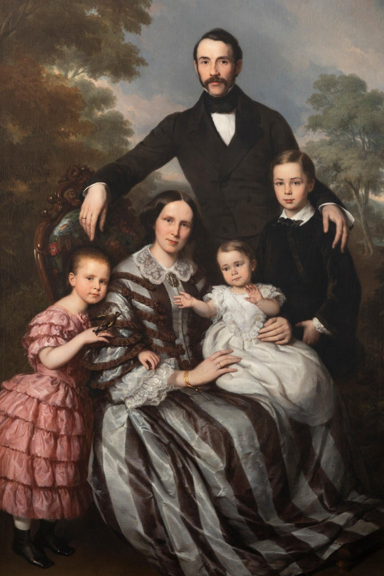 Ludwig Krevel, Family Portrait of Emil Albano Korte and his Family circa 1856, oil on canvas,  Sizes without frame: Length 205 cm, width 140 cm Sizes with frame: Length 225 cm, width 160 cm  This portrait represents the industrialist Emil