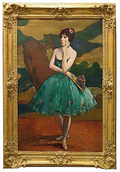 "Impressionist Dancer on Canvas, ""Ballet Girl in Green"""