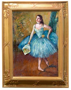 "Impressionist Dancer on Canvas, ""Curtain Call"" Ballerina in Blue"