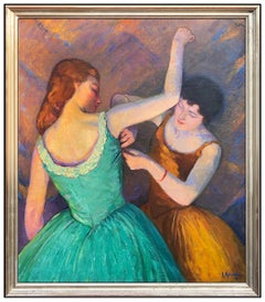 Louis Kronberg Large Original Painting Oil On Canvas Signed Ballet Dancer Art