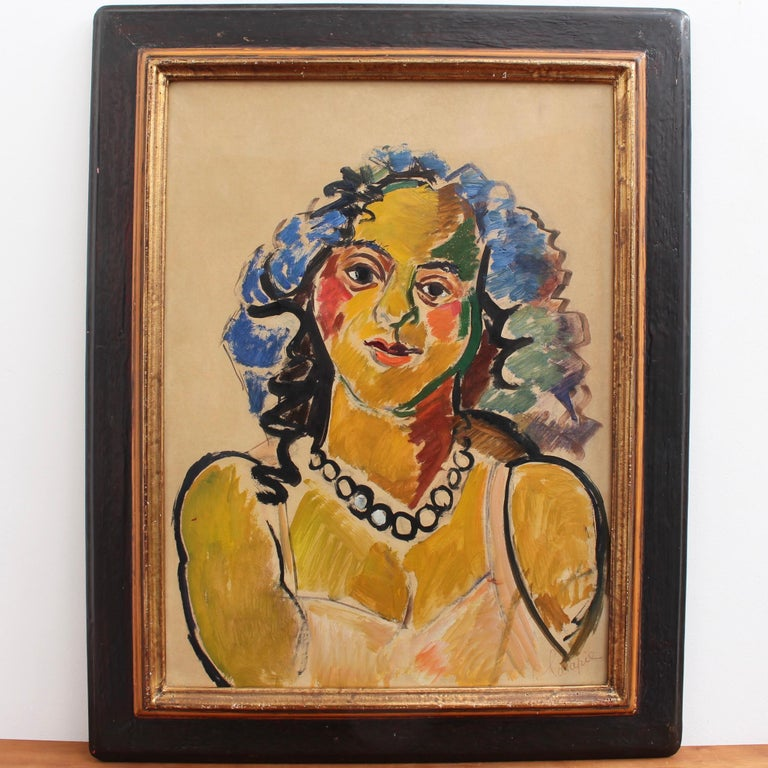 Woman with Necklace - Painting by Louis Latapie