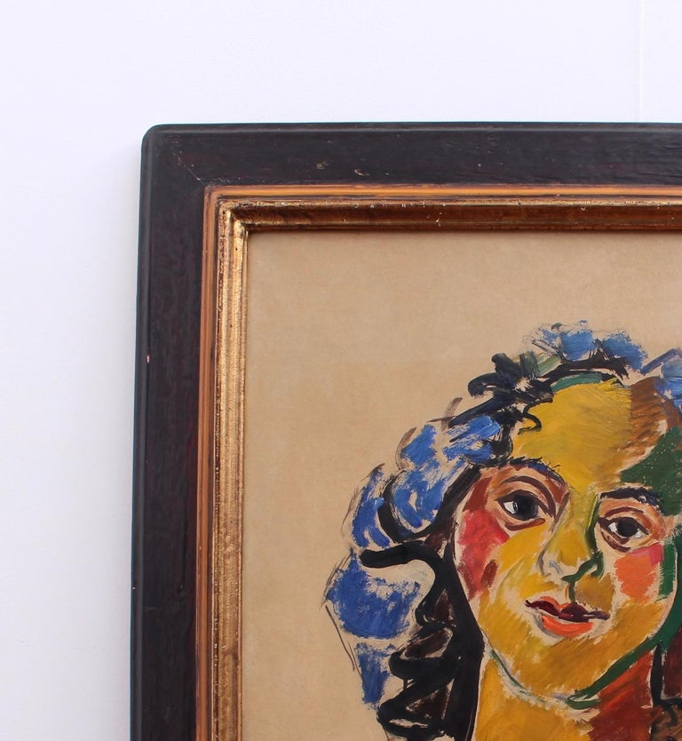 Woman with Necklace - Expressionist Painting by Louis Latapie
