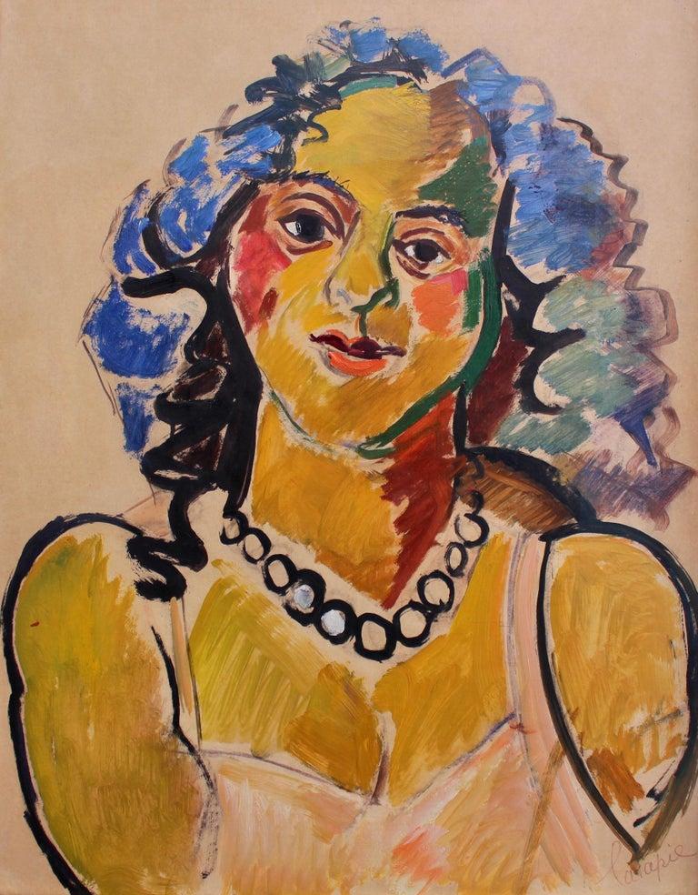 Louis Latapie Portrait Painting - Woman with Necklace