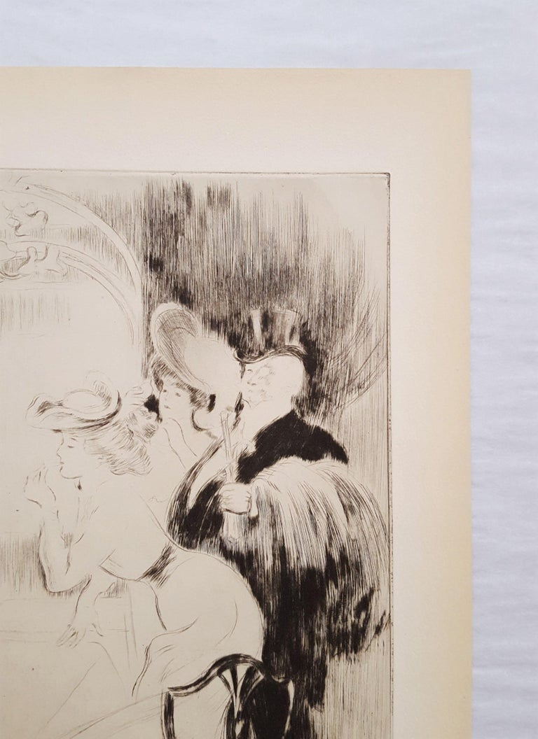 An original drypoint etching on cream wove paper by French artist Louis LeGrand (1863-1951) titled