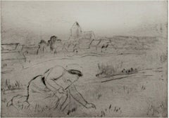 """Woman in Field,"" drypoint etching by Louis LeGrand"