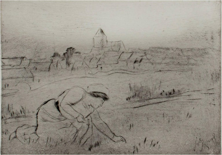 """""""Woman in Field,"""" drypoint etching by Louis LeGrand"""
