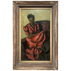 """Louis Leon Ribak Oil ainting """"ruby in red"""" Social Realist Style"""