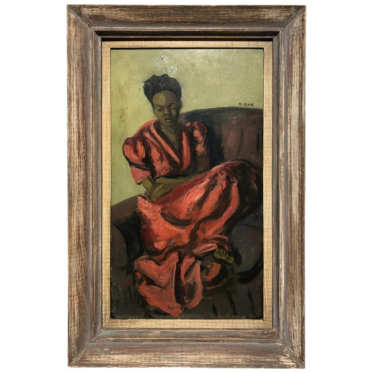 "Louis Leon Ribak Oil ainting ""ruby in red"" Social Realist Style For Sale"