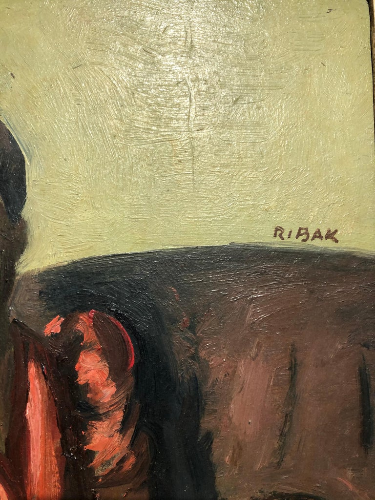 "Louis Leon Ribak Oil ainting ""ruby in red"" Social Realist Style For Sale 2"