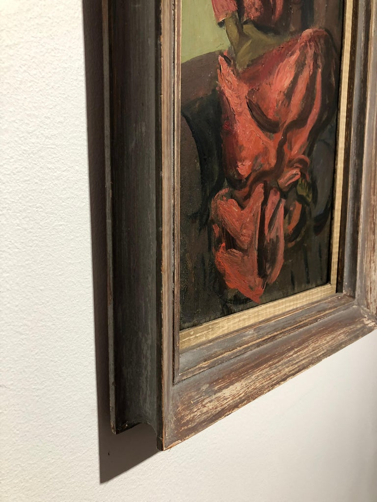 "Louis Leon Ribak Oil ainting ""ruby in red"" Social Realist Style For Sale 5"