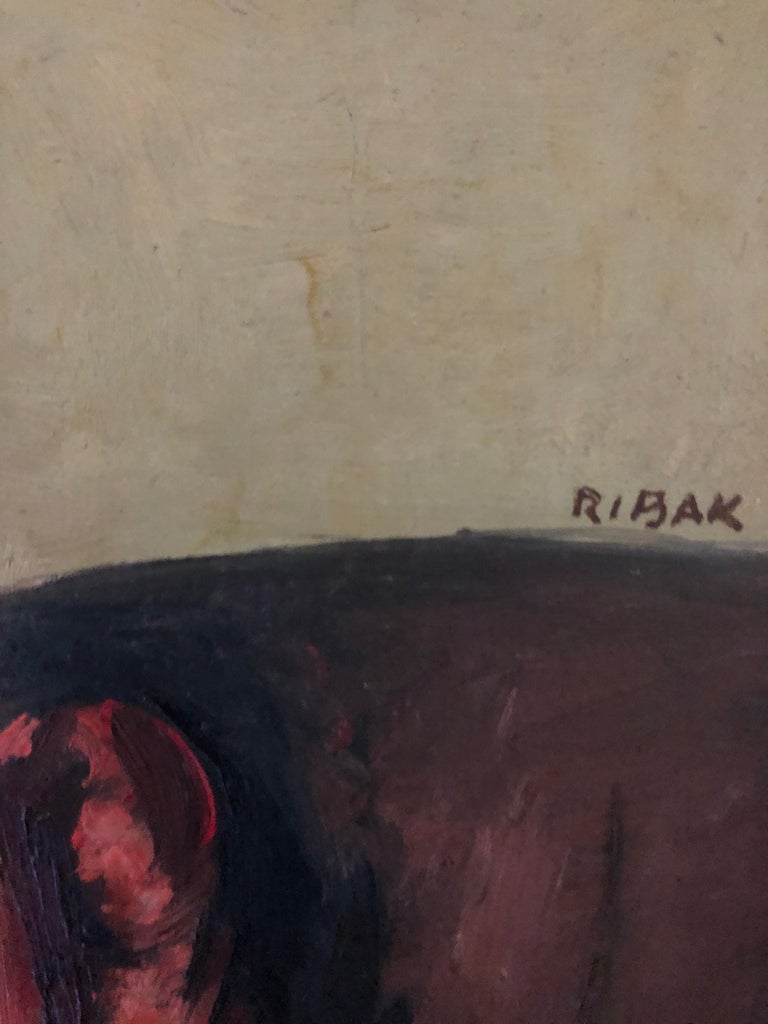 "Louis Leon Ribak Oil ainting ""ruby in red"" Social Realist Style For Sale 9"