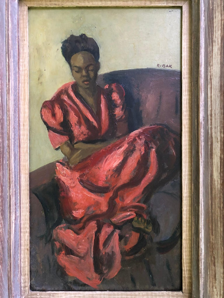 "Expressionist Louis Leon Ribak Oil ainting ""ruby in red"" Social Realist Style For Sale"