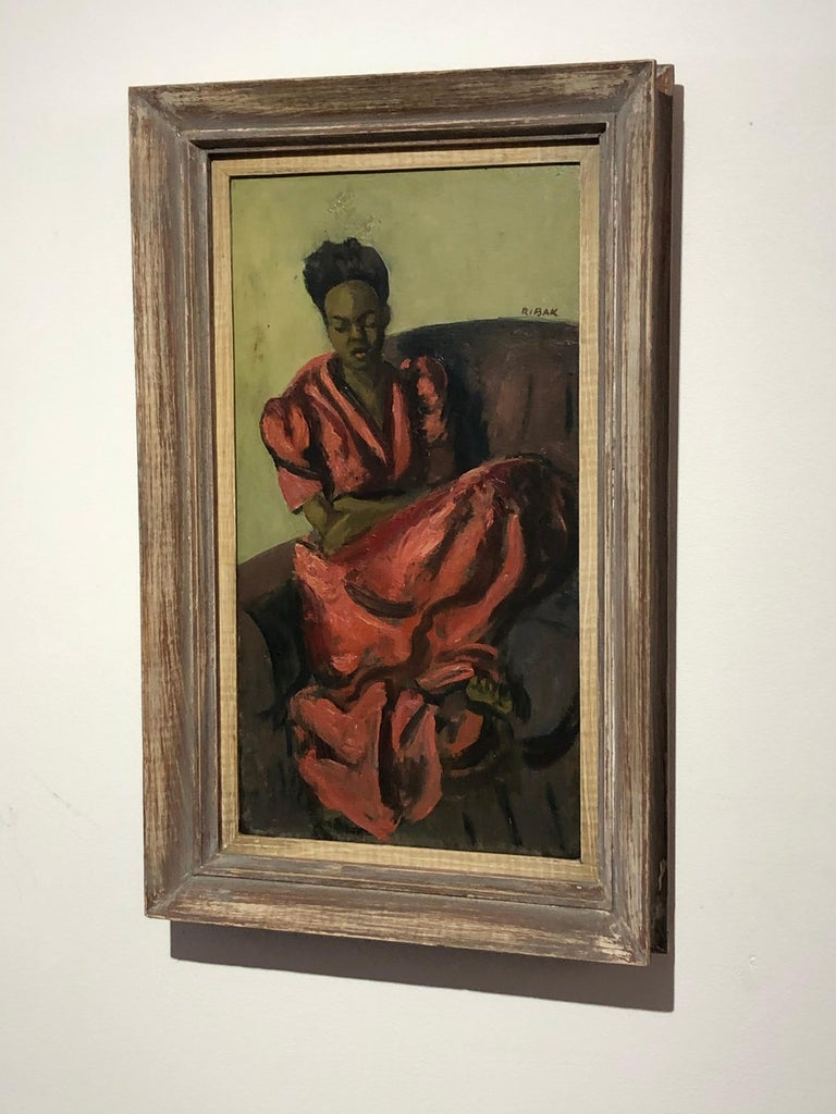 "American Louis Leon Ribak Oil ainting ""ruby in red"" Social Realist Style For Sale"