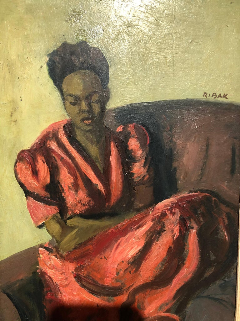 "Oiled Louis Leon Ribak Oil ainting ""ruby in red"" Social Realist Style For Sale"