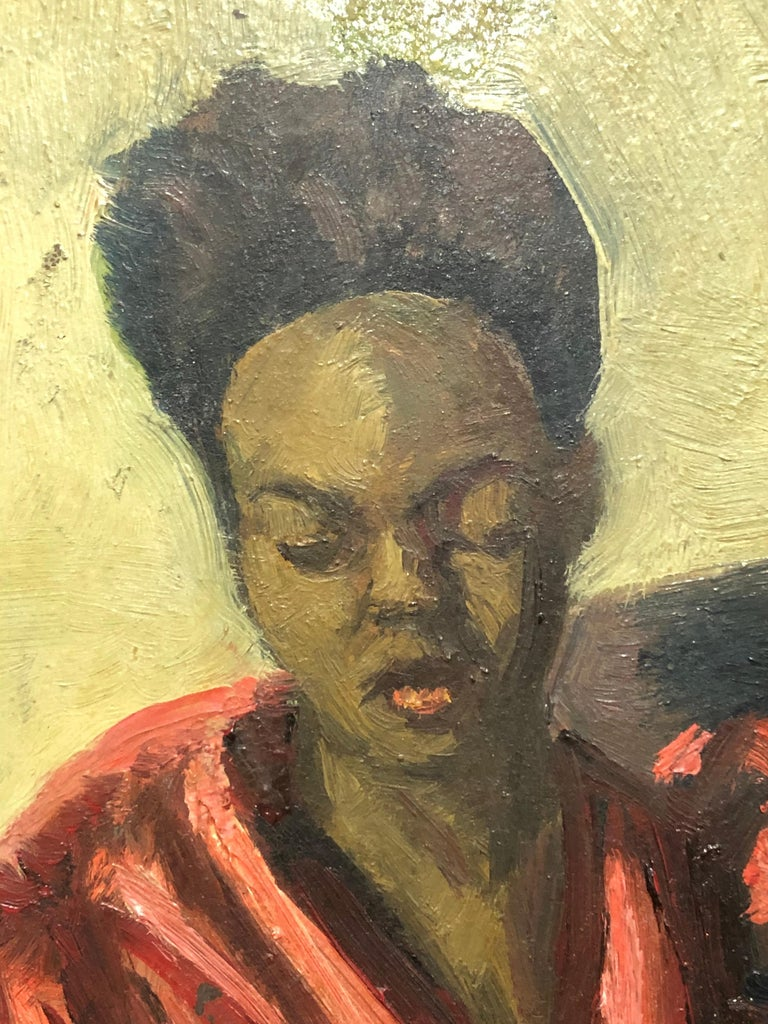 "Louis Leon Ribak Oil ainting ""ruby in red"" Social Realist Style In Good Condition For Sale In Westport, CT"