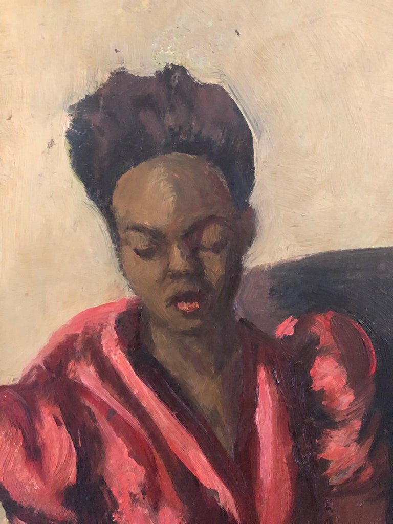 "20th Century Louis Leon Ribak Oil ainting ""ruby in red"" Social Realist Style For Sale"