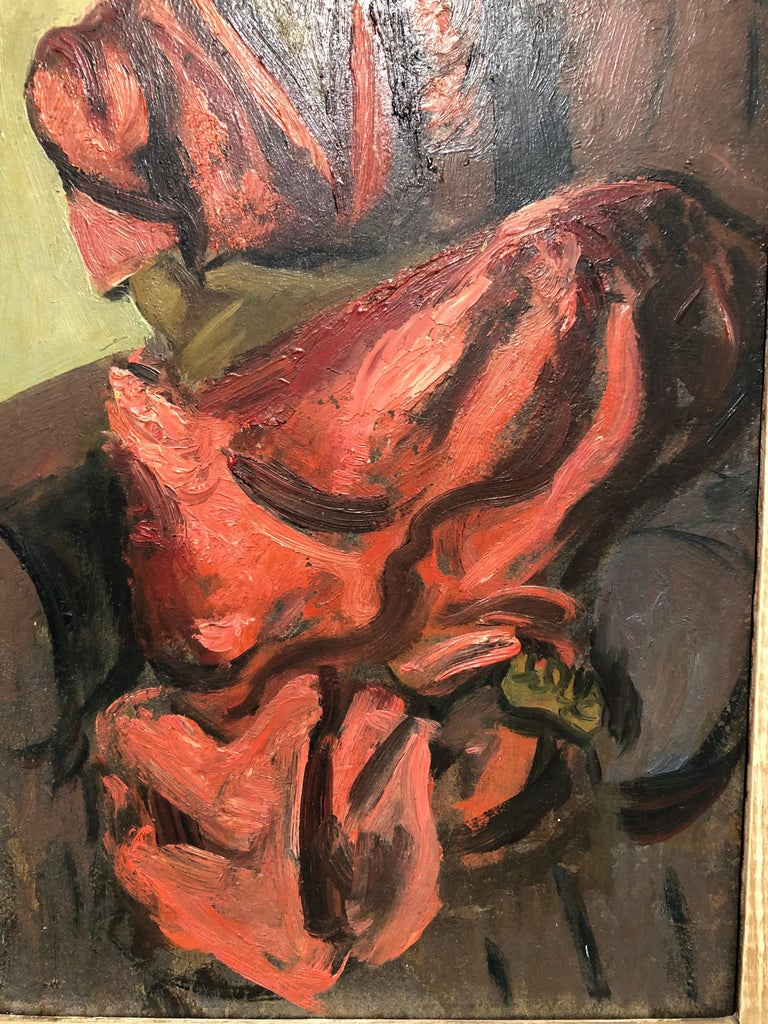 "Louis Leon Ribak Oil ainting ""ruby in red"" Social Realist Style For Sale 1"
