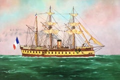 Gloire ship portrait, signed oil painting