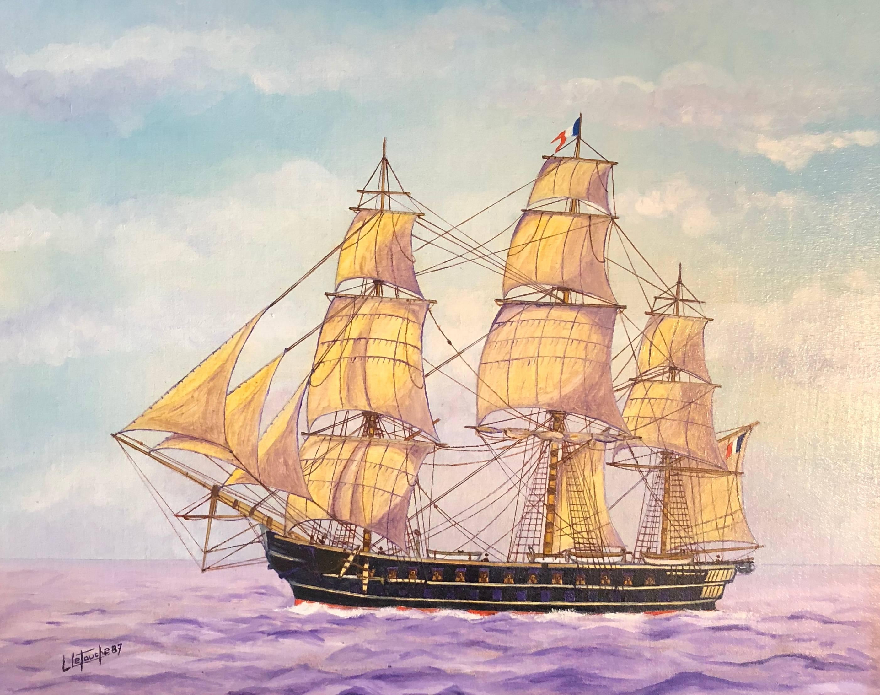 La Belle Poule, signed oil painting