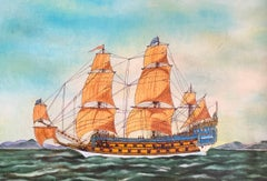 La Couronne Ship, signed oil painting