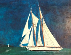 Large Yacht, signed oil painting