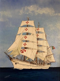 Sagres II Ship Portrait 20th Century, signed oil painting