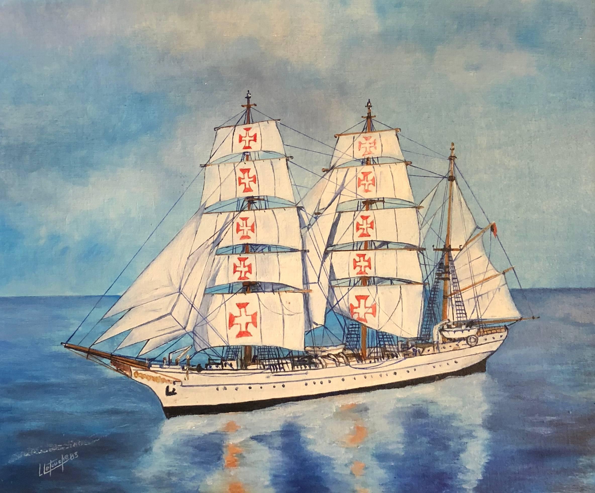 Sagres Ship Portrait signed oil painting