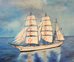 Sagres Ship Portrait signed oil painting