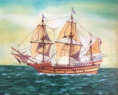 The Mayflower, signed oil painting