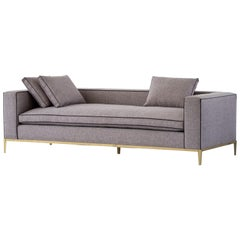Louis Linen Sofa/Daybed with Leather Piping Brass/Bronze Base, Mandy Graham