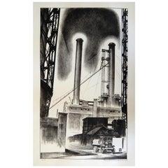 """Louis Lozowick Original Lithograph, 1929, """"Edison Plant"""""""